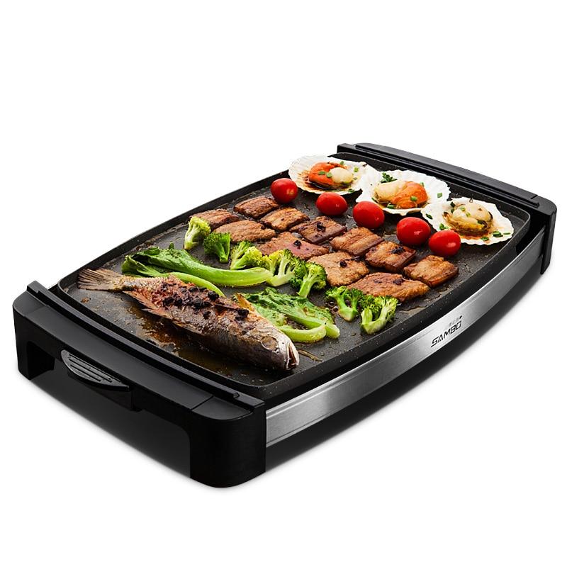 Корейская электрическая сковорода для выпечки бытовой Teppanyaki бездымный антипригарный многофункциональный электрический гриль, а также ком