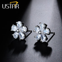 USTAR NEW Flower Crystals Stud Earring for Women Rose gold color 2017 Fashion Jewelry Earrings female Ear brincos top quality