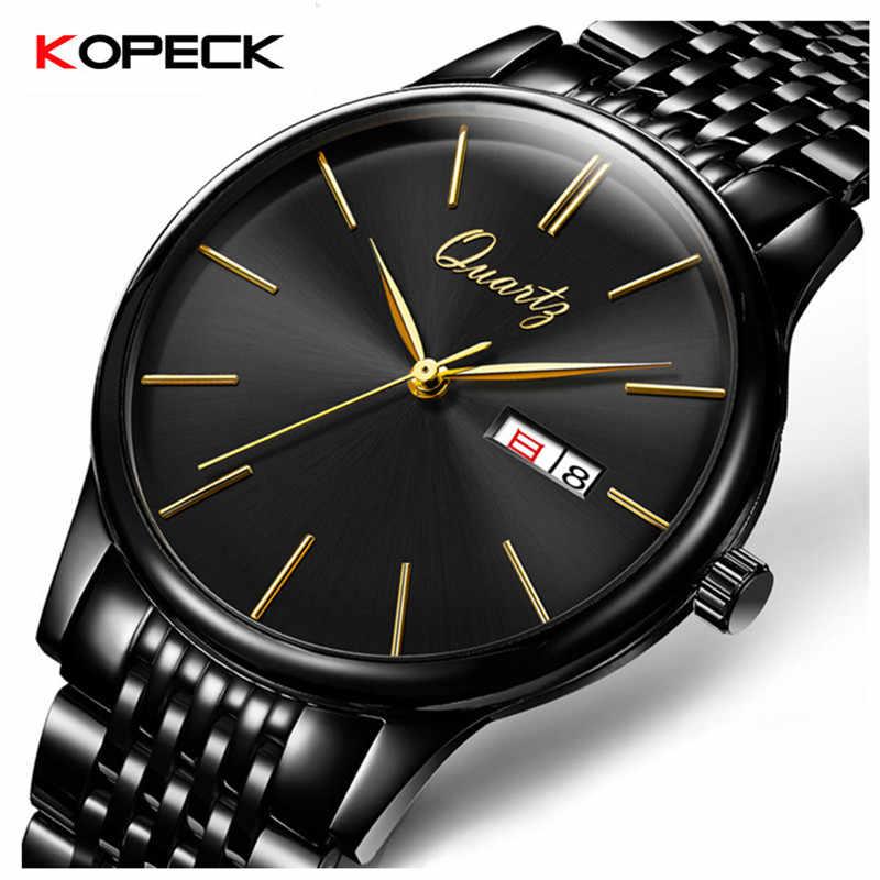 f3741b1e769b Копейка бизнес для мужчин кварцевые наручные часы нержавеющая сталь  классический черный циферблат календари Мужской Аналоговые часы