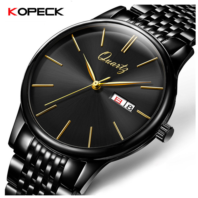 Kopeck Business Men Quartz Wrist Watch Stainless Steel Classic Black Dial Calendar Male Analog Clock Genuine Leather Men's Watch stylish 8 led blue light digit stainless steel bracelet wrist watch black 1 cr2016