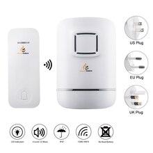 IP47防水ワイヤレスドアベル、ドアのベルチャイム、不要バッテリー、セルフパワー送信ボタン、プラグ受信機、32着信音