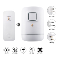 Wireless Doorbell,Door Bell Chime,No Need Battery,IP47 Waterproof Transmitter Bell-Push Button,AC Plug-in Receiver,32 Ringtones