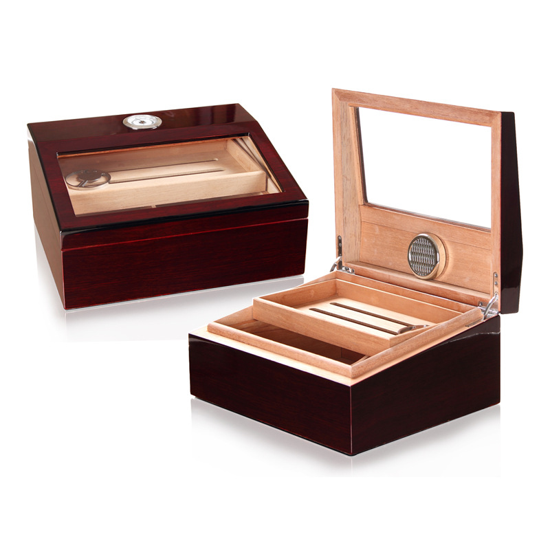 Havana cigars Walnut Wood desktop Humidor High Glossy Cigar Moisturizing Box Glass Top Cigar Display Humidor
