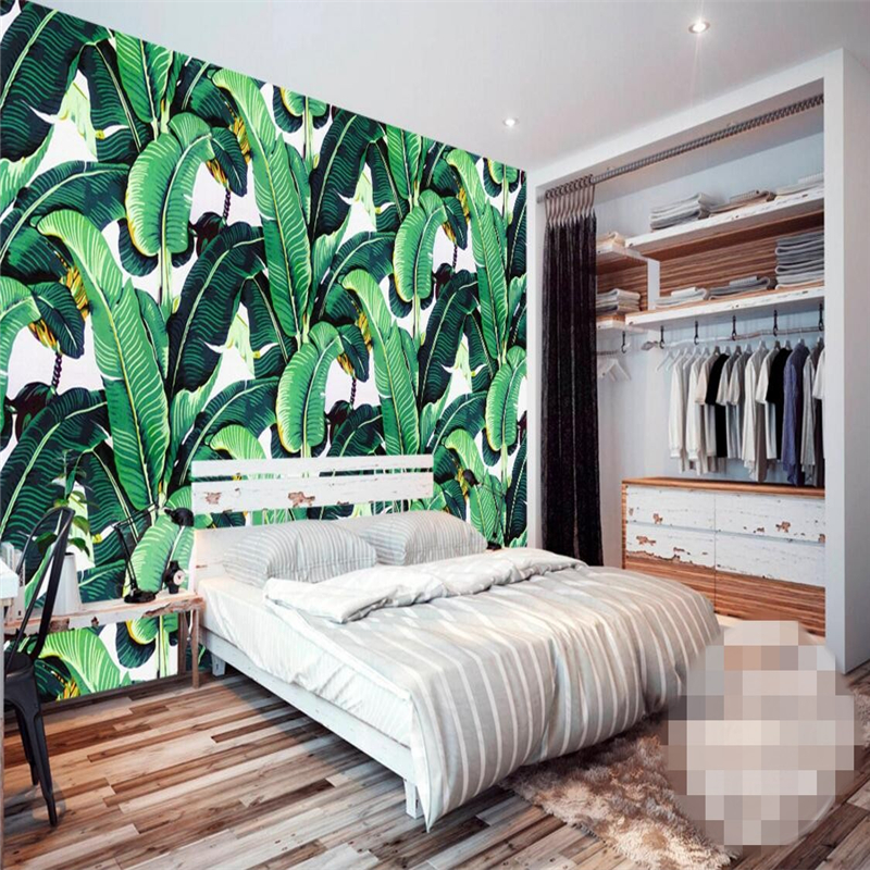 beibehang custom wallpaper European retro hand-painted tropical forest plant Banana leav ...