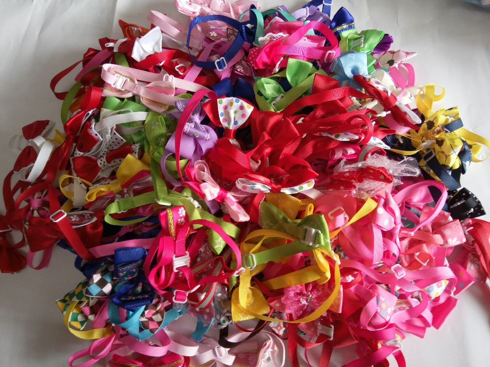 50pclot Factory Sale Colorful Handmade Adjustable Pet Dog puppy cat Ribbon Bow Ties Dog Grooming Supplies Y130