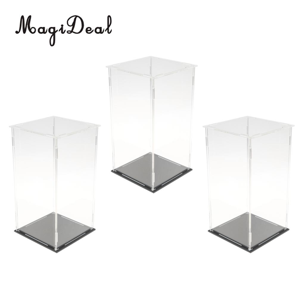 Tooyful 3 Pieces Clear Dustproof Musical Box Display Box Case Model Figure Showcase