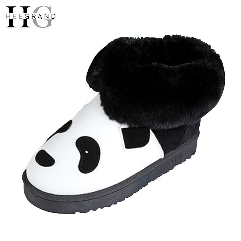 HEE GRAND Women Snow Boots Winter Flat Panda Pattern  Shoes Woman Fur Cotton Slip On Snow Ankle Boots Size 35-40 XWX4498 hee grand women snow boots winter flat panda pattern shoes woman fur cotton slip on snow ankle boots size 35 40 xwx4498
