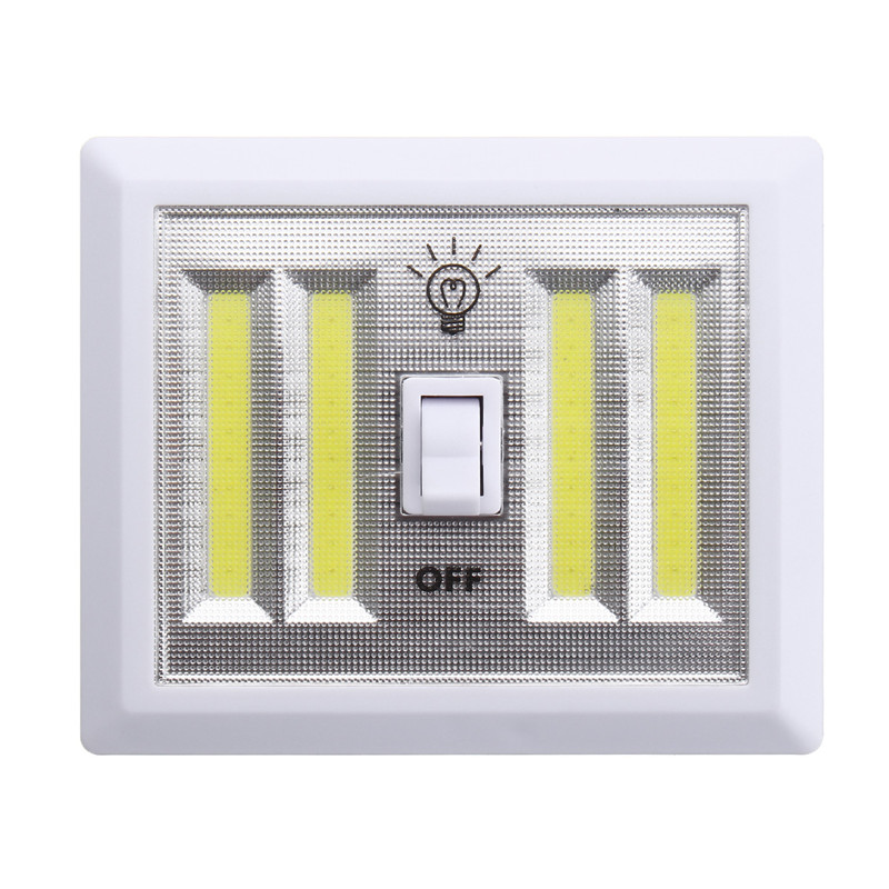 White Wireless LED Night Light Lamp COB LED Wall Lamp Battery Power Cordless Switch Closet Under Cabinet DC6V