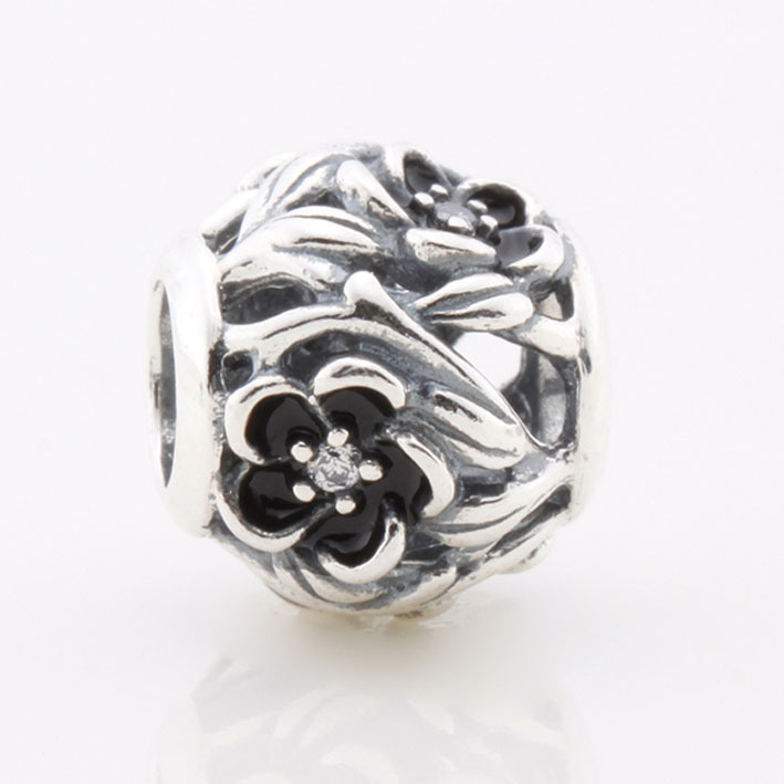 555e7a8c0 Solid 925 Sterling Silver Beads Openwork Flower Charm Black Enamel Flower  Fits Pandora Bracelet and Necklace DIY Jewelry