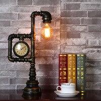 Винтаж промышленных освещение Лофт E27 металла Эдисоном настольные лампы стимпанк кованые базы античные настольные лампы огни ночного Ламп