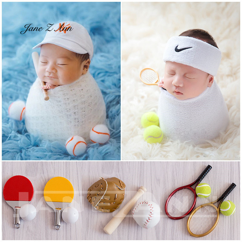 Jane Z Ann Baby photo shoot props sports little ornaments  newborn baseball table tennis basketball costume studio accessoriesJane Z Ann Baby photo shoot props sports little ornaments  newborn baseball table tennis basketball costume studio accessories