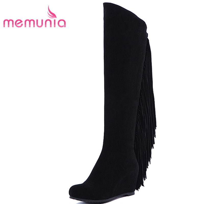 MEMUNIA NEW arrival 2018 fashion tassel wedges cow suede leather boots zip over the knee boots for women round toe winter boots tassel suede leather knee high women winter boots fashion folded design tassel block heeled booty