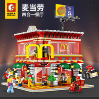 4 In 1 Sembo SD6901 Mini Street View LED McDonalds Restaurant House Building Blocks Model Compatible with Legoing Architecture