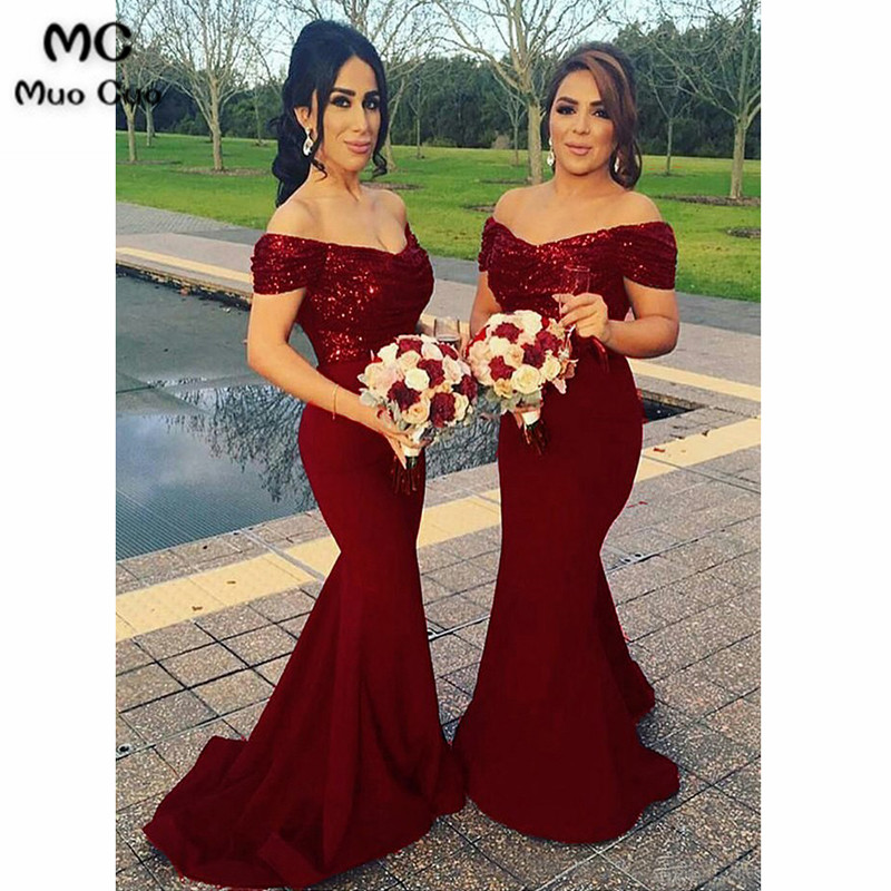 2018 Off Shoulder Mermaid   Bridesmaid     Dress   Sequined Wedding Party   Dress   Elastic Satin Women Burgundy   Bridesmaid     Dresses