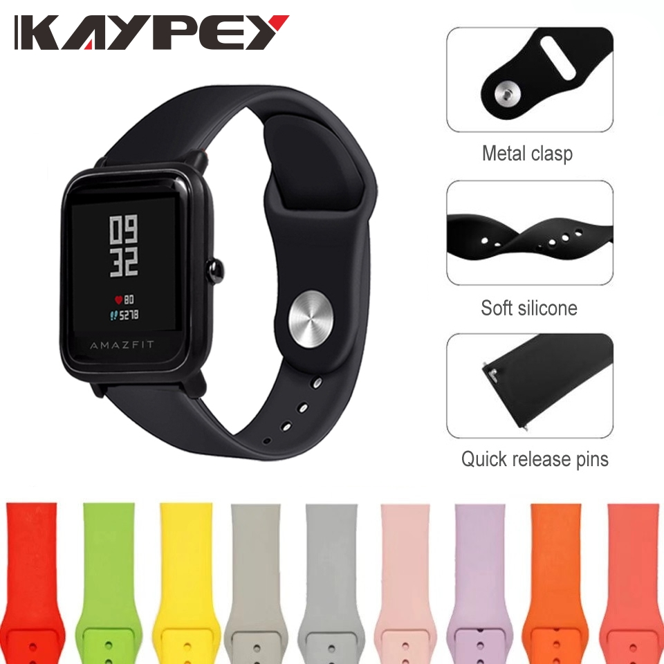 20mm Silicone Strap For Xiaomi Huami Amazfit Bip BIT PACE Lite Youth Smart Watch Band For Huami Amazfit Youth Bracelet Strap