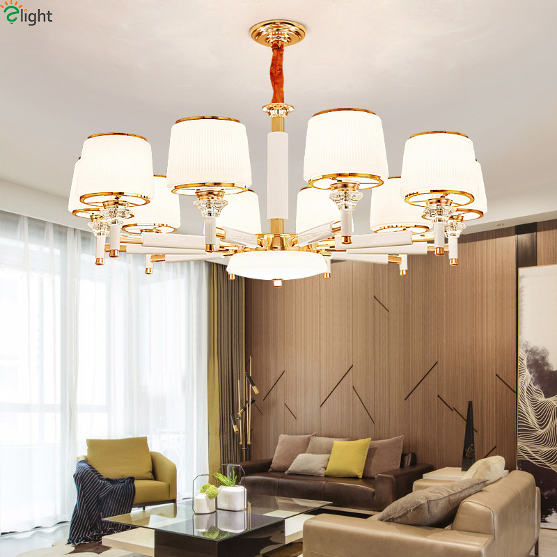 Modern Gold White Metal Led Chandeliers