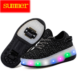 Heelys Summer Children Roller Sneakers Kids light Shoes with Wheel Flame Buty Led Luminous Boys Girls Kids led Glowing Sneakers