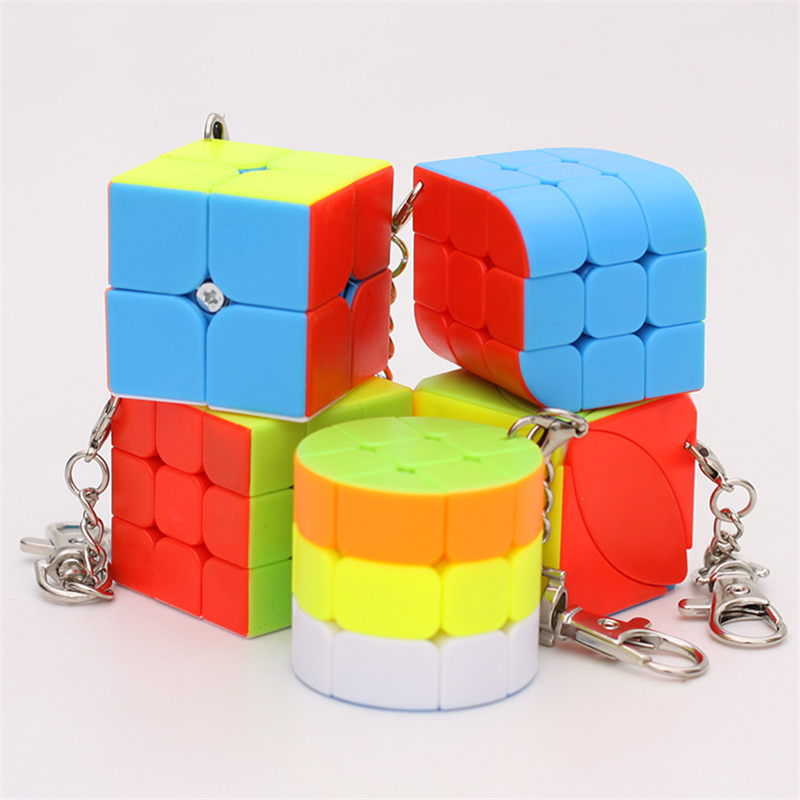 Zcube KeyChain Mini 2x2 3x3 Trihedron Cylinder Magic Cube  Creative Cube Hang Decorations - Colorful