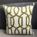 2016 Modern Geometric Cord Embroidery Gray & Green Cotton Cushion Cover 45 x 45 cm Gift Pillow Case