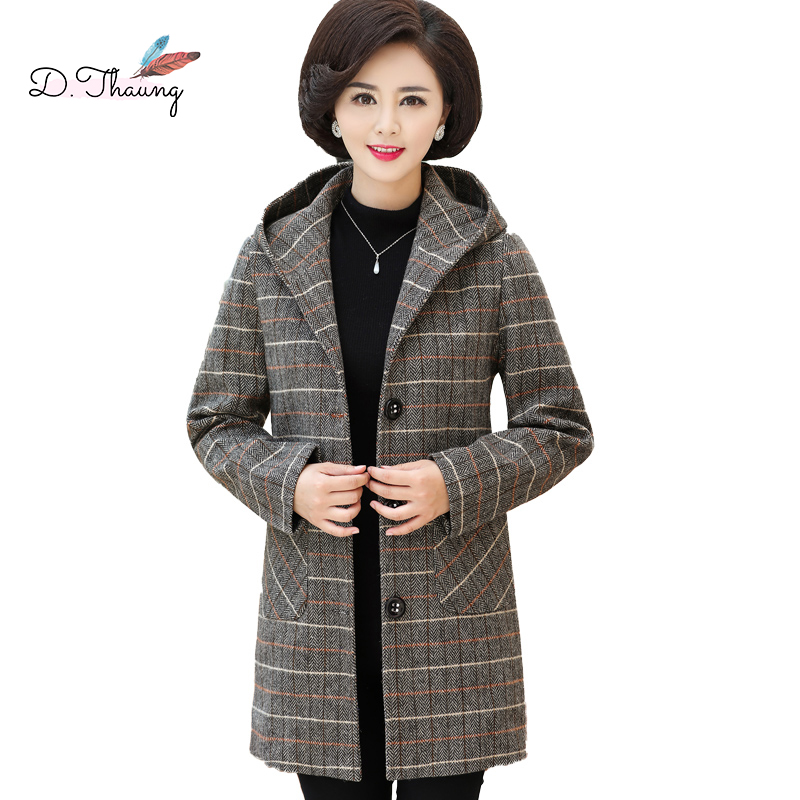 Autumn Women Outerwear 2018 Mid-Long Single-Breasted Female   Trench   Middle-Aged Large Size Loose Hooded Ladies Windbreaker Cw011