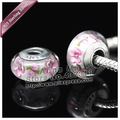 2pcs S925 sterling silver pink Murano Glass Beads Charms Fit European jewelry DIY Charm Bracelets necklaces & pendants ZS134