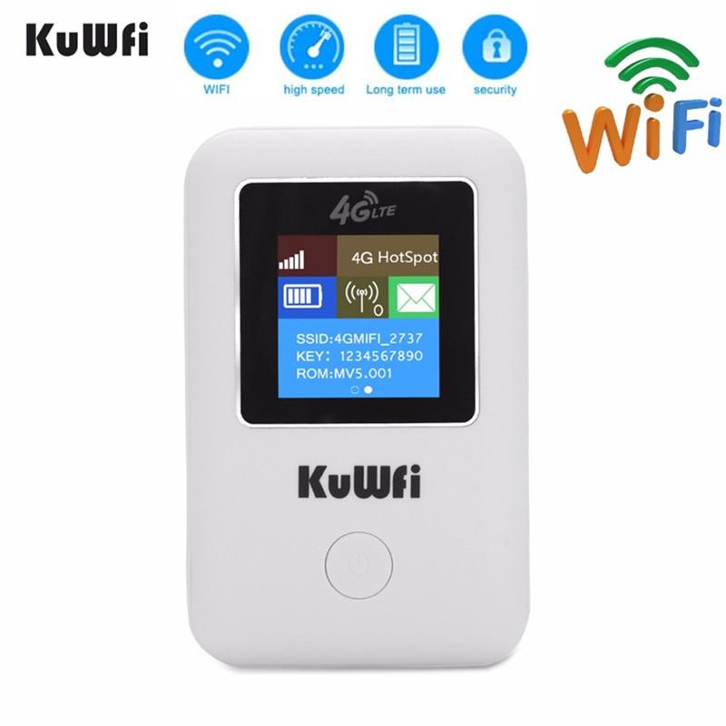 KuWFI 4G Router Wi-fi Portátil 3G/4G LTE Desbloquear Roteador Sem Fio Wi-fi Hotspot de Bolso Portátil Cartão router Wi-fi Com O Cartão Sim