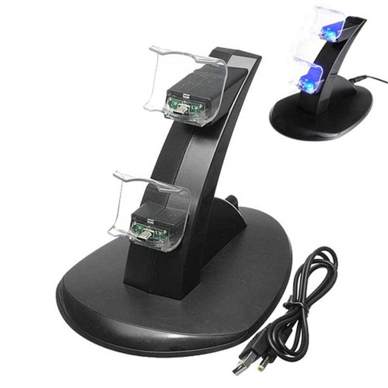 For Dualshock 4 For PS4 Charger Dual USB Charging Charger Dock Station Stand For Playstaion 4 Black PVC Material For Dualshock 4 For PS4 Charger Dual USB Charging Charger Dock Station Stand For Playstaion 4 Black PVC Material