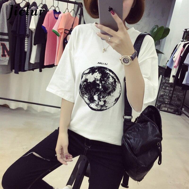 Chic Verão Nova Personalidade Planeta Lua Impresso Camisas Soltas T Mulheres de Slim Lazer Manga Curta T-shirt Branco do Sexo Feminino Top M-XXL