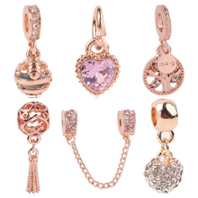 Luxurious Hollow Heart Robot Mickey Love Crown Rose goldPendant Beads Fit Pandora Charm Bracelets Women Making Jewelry