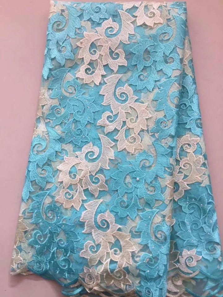 5 Yards/pc Wonderful water blue french net lace with flower embroidery african mesh lace fabric for dress LN5-15 Yards/pc Wonderful water blue french net lace with flower embroidery african mesh lace fabric for dress LN5-1