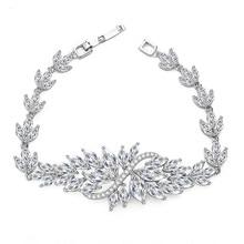 Classic Design CZ Flower Women Micro insert Bracelet Marquise Cut AAA Cubic Zirconia Charm Bracelet Fashion Zircon Jewelry