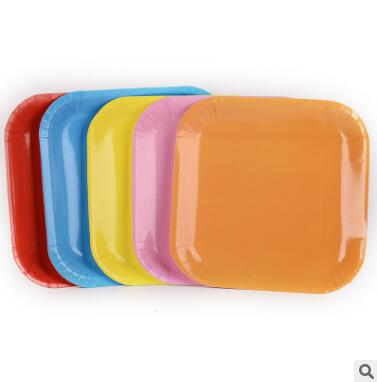 2017 New PASAYIONE Disposable Plates Multi Colours DIY Creative Colored Paper Plate 9 Inch Rectangular Plate Tableware Decor
