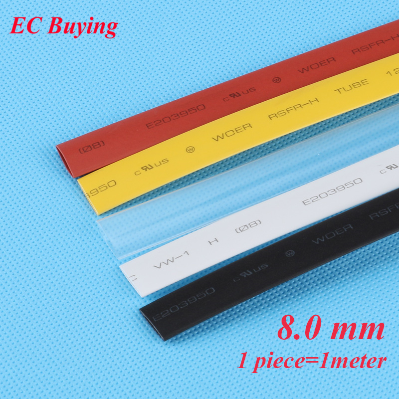 1m /pcs 8 Mm Heat Shrink Tubing Wire Wrap Heat-Shrink Tube 2:1 Thermo Jacket  Insulation Matierial Black White Yellow Clear Red