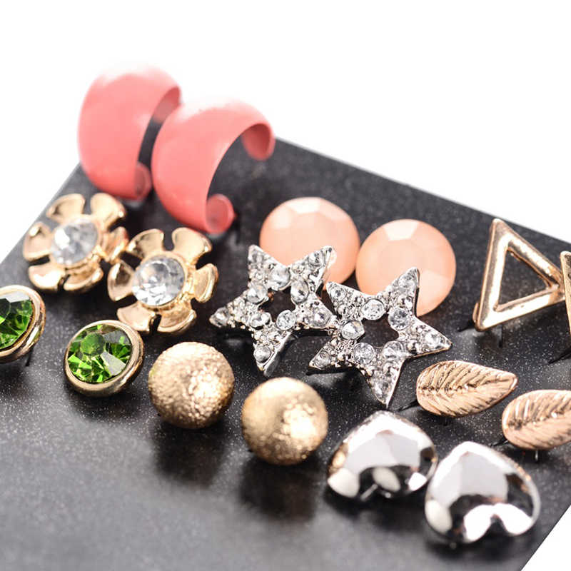 M arteและJoven 9คู่/เซ็ตรอบบอลแม็กหัวใจทอง-ต่างหูสตั๊ดสีชุดสำหรับผู้หญิงน่ารักดาวดอกไม้ใบผสมหูกระดุมชุด