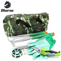 Dhorse 6Pcs Combination Garden Tools Set Including Shear Rake Trowel Side Cutter Gloves Tie Wire With Camouflage Bag SX028