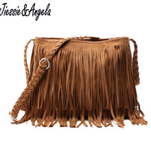 купить Hot Sale women tassel bag vintage women messenger bags fashion cross body shoulder bags ladys tassel bags handbag bolso WB51006C дешево