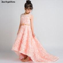 Flower Girl Dresses for Weddings Short Front Long Back First Holy Communion Dresses For Girls Kids Formal Prom Dress Ball Gown недорого