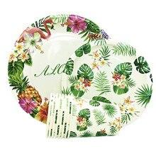 Tropical Palm Leaves Disposable Tableware Set Luau Flamingo Party Decoration Summer Party/Hawaiian Wedding Decor Supplies