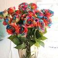 1 Шт. Радуга Одного Стебля Розы Искусственный Цветок Поддельные Розы DIY Свадьба Букет Украшения
