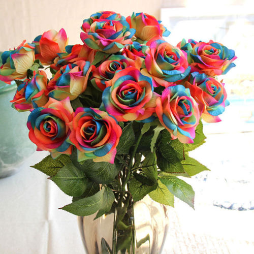 1Pc Rainbow Single Stem Rose Artificial Flower Fake Rose DIY Wedding Party Bouquet Decoration