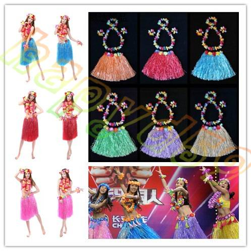 0bc8ed66f7ab 12sets 60CM 5PCS/set Plastic Fibers Women Grass Skirts Hawaiian Hula Skirt  set cheerleaders costumes Ladies Dress Up