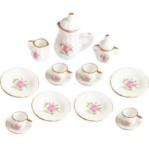 Image 5 - Creative Ceramic Mini Tea Set Green Flower Pattern Porcelain Ceramic Tea Set Kids Toy Mini Kitchen Toy for Kids Adults 15pcs