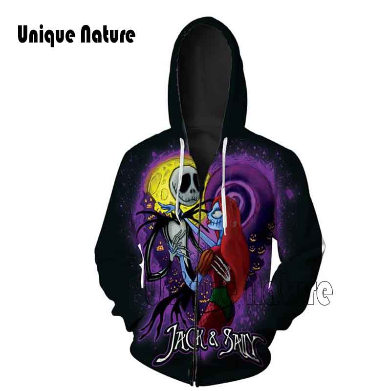 Unique Nature Skeleton Couples Zipper Hoodies Casual Pullover Outwear with Hat Long Sleeve Tracksuits Fashion Hoodies Plus Size
