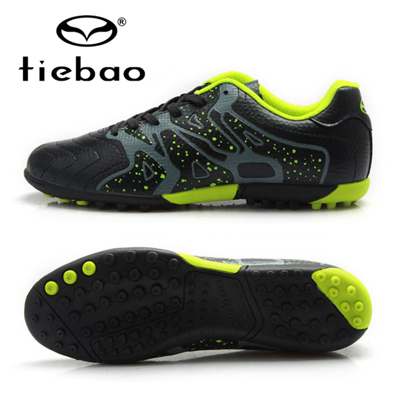 TIEBAO Professional Boys Football Soccer Shoes Top Quality TF Turf Rubber Soles Black Soccer Cleats Sports Sneakers Boots tiebao professional boys fg