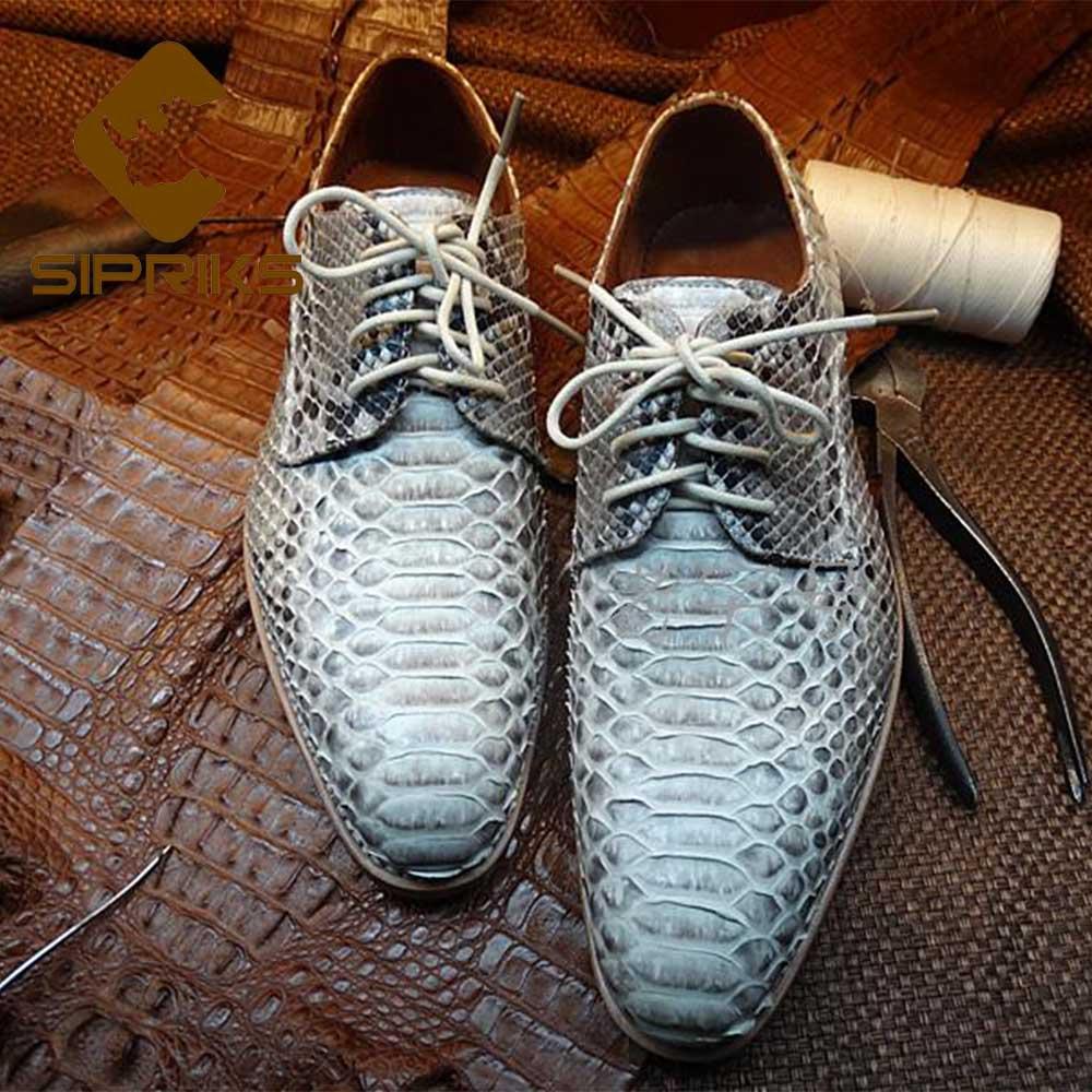 Sipriks Goodyear Welted Shoes hombre Python piel vestido zapatos elegante jefe trajes zapatos italiano personalizado piel de serpiente zapatos Derby Hombre