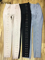 2017 New Fashion Ispirato Luxe Anello di Metallo Circle Abbellito Lace Up Donne All'ingrosso Rayon vestito Dalla Fasciatura di Bodycon Pantaloni Leggings YQ-353