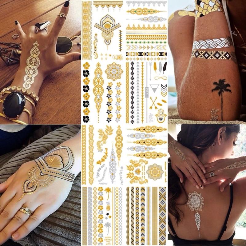 Flash Metallic Waterproof Tattoo Gold Silver Women Fashion Henna /Peacock Feather Design Temporary Tattoo Stick Paster