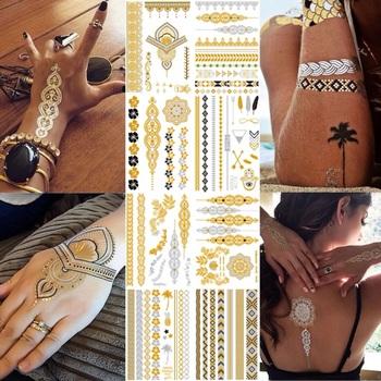 Odblask metaliczny wodoodporny tatuaż złoto srebro kobiety moda Henna pawie pióro projekt tymczasowy tatuaż Stick Paster tanie i dobre opinie MANZILIN 15*21cm Neck Hand Shoulder Waist Sleeve Back Leg