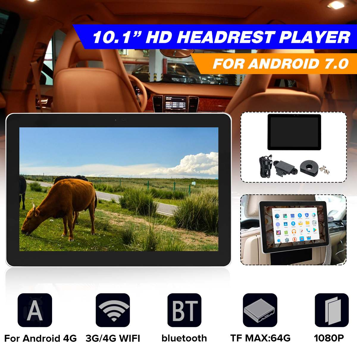 10.1 Car Headrest Monitor DVD Video Player For Android 7.0 GPS/MP4/MP5/FM/AM 3G/4G WIFI Support GPS Navigation Rear View Camera