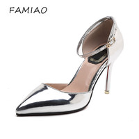 Hot 2018 Spring Autumn Women Pumps Sexy Silver High Heels Shoes Club Stiletto Shoes Pointed Toe